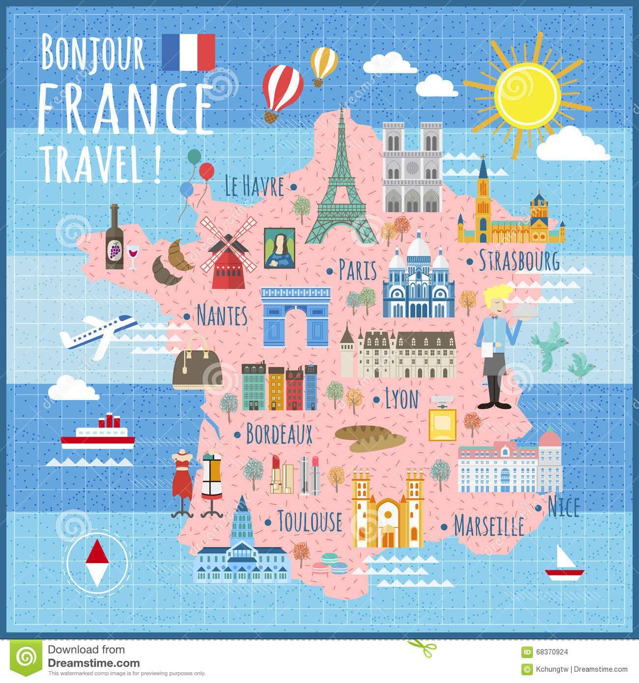 Paris Main Attractions In One Day: Frankrijk Attracties Kaart